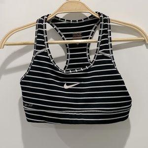 Nike Black and White Stripe Sports Bra